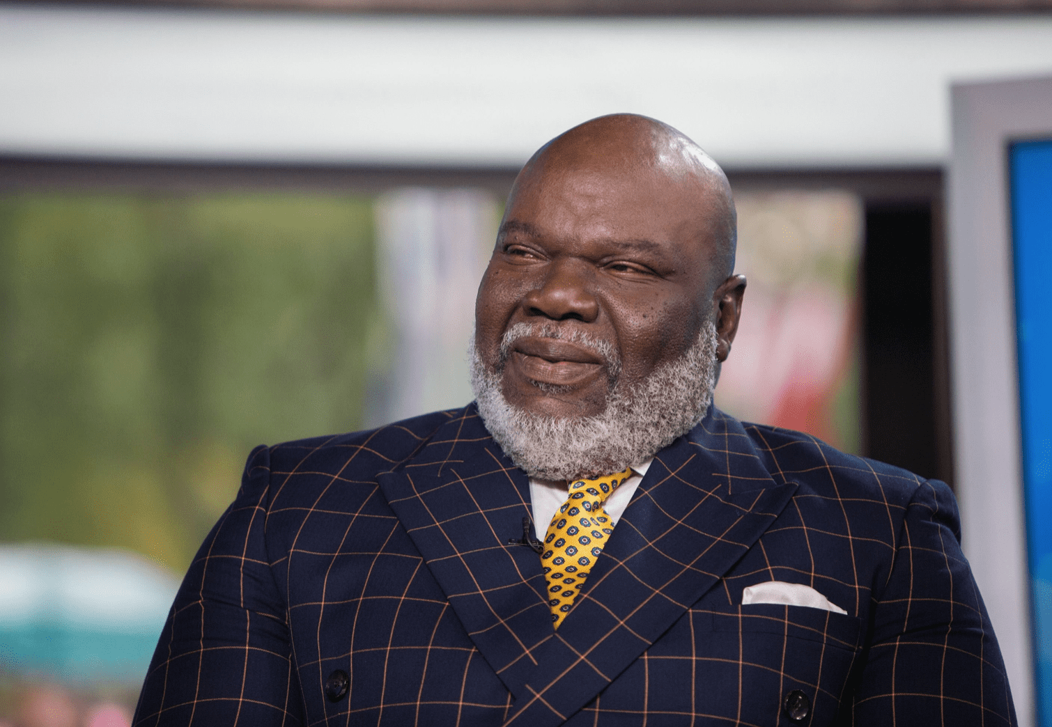 Bishop T.D. Jakes during a television interview on October 9, 2017. | Source: Getty Images