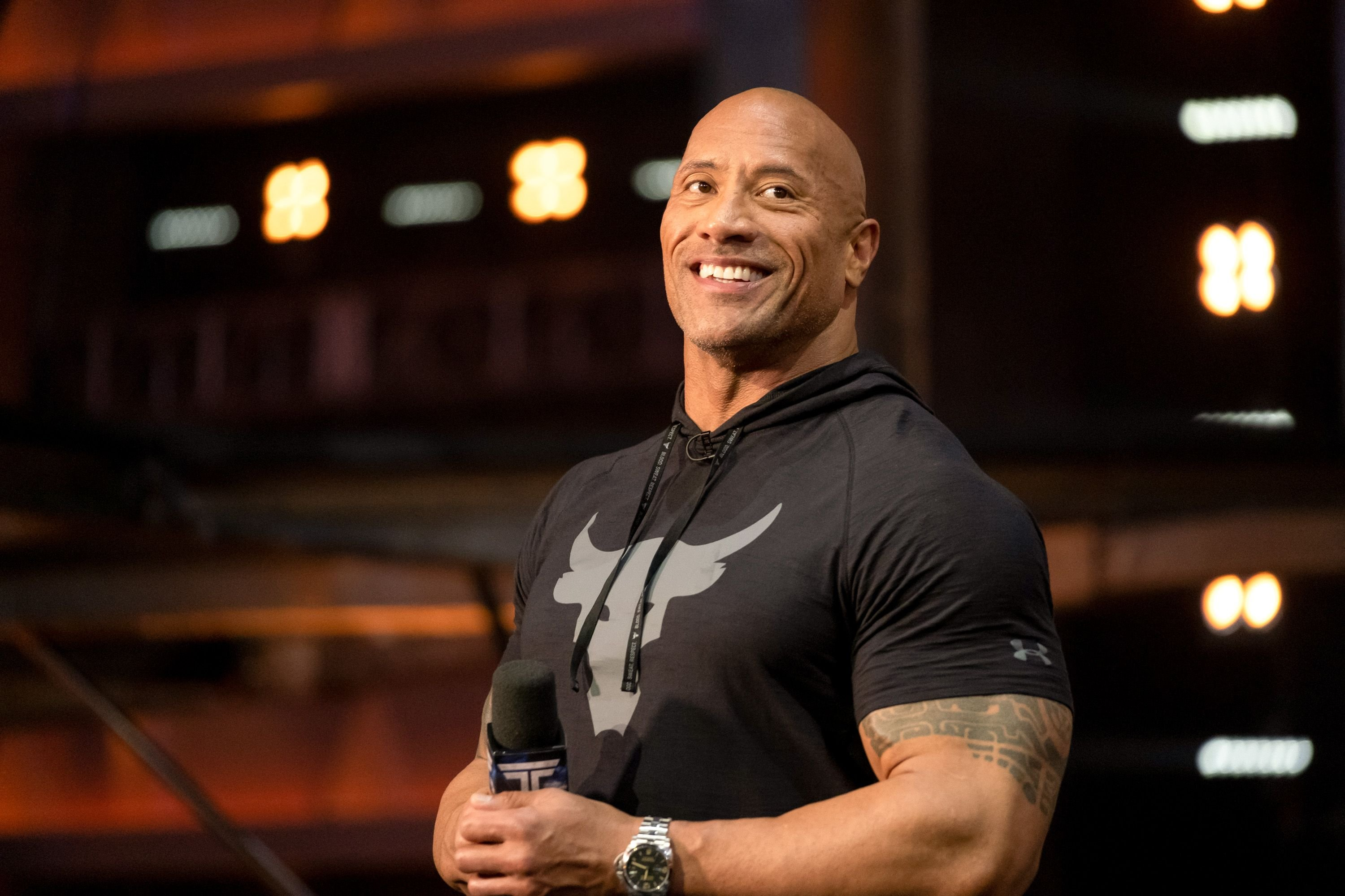 "Dwayne Johnson on the set of season 2 of ""The Titan Games"" for its West Region Premiere on February 04, 2020 