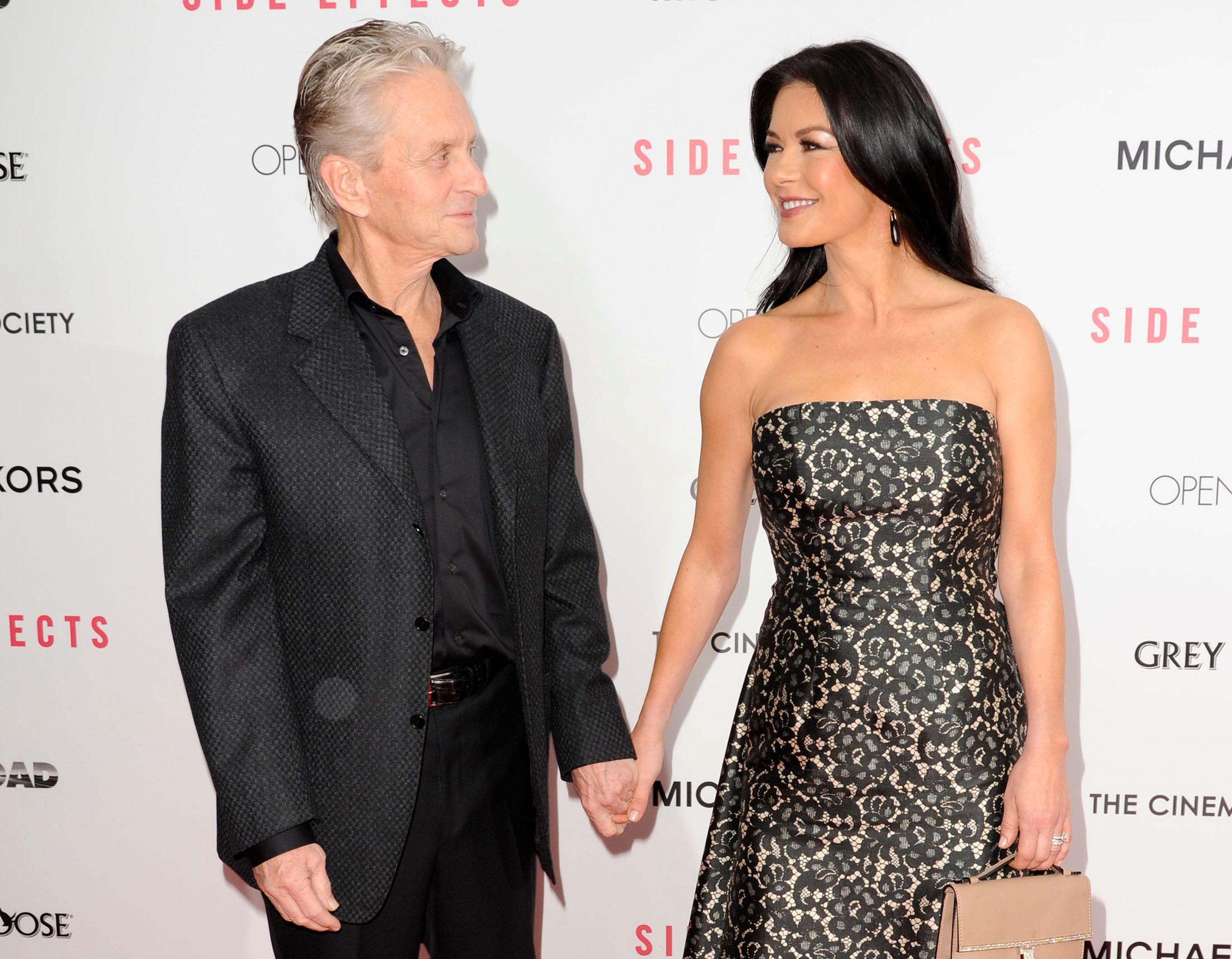"Michael Douglas and Catherine Zeta-Jones during the premiere of ""Side Effects"" at AMC Lincoln Square Theater on January 31, 2013 in New York City. 