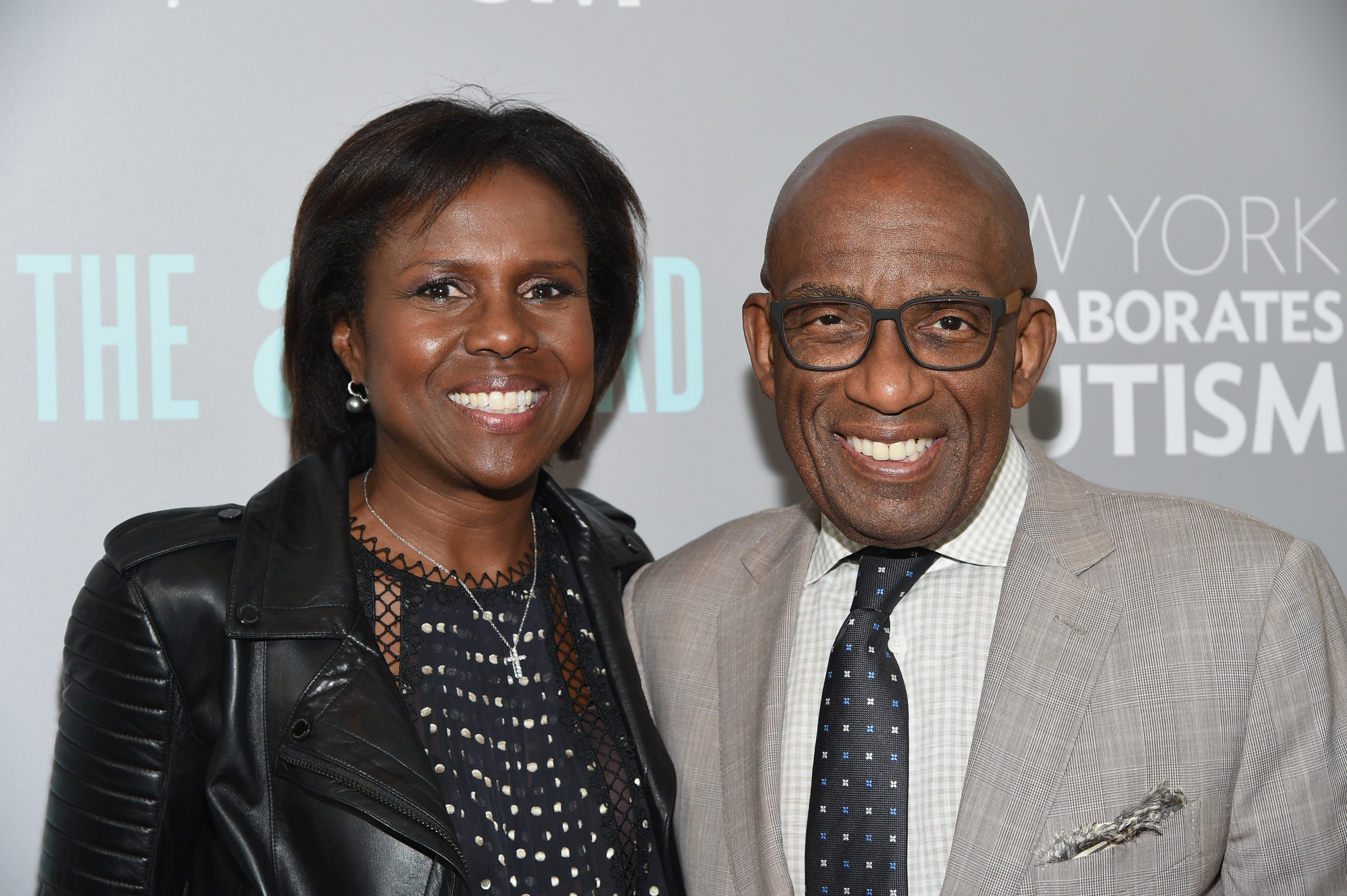 "Al Roker (R) and wife Deborah Roberts attend the ""The A Word"" New York screening at Museum Of Arts And Design on June 28, 2016, in New York City. 