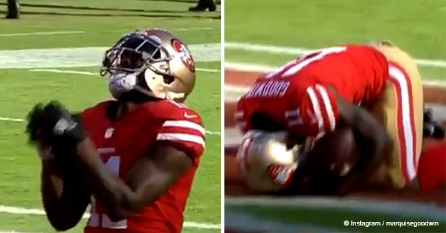 Heartbreaking moment NFL player scores touchdown and falls to his knees days after losing baby