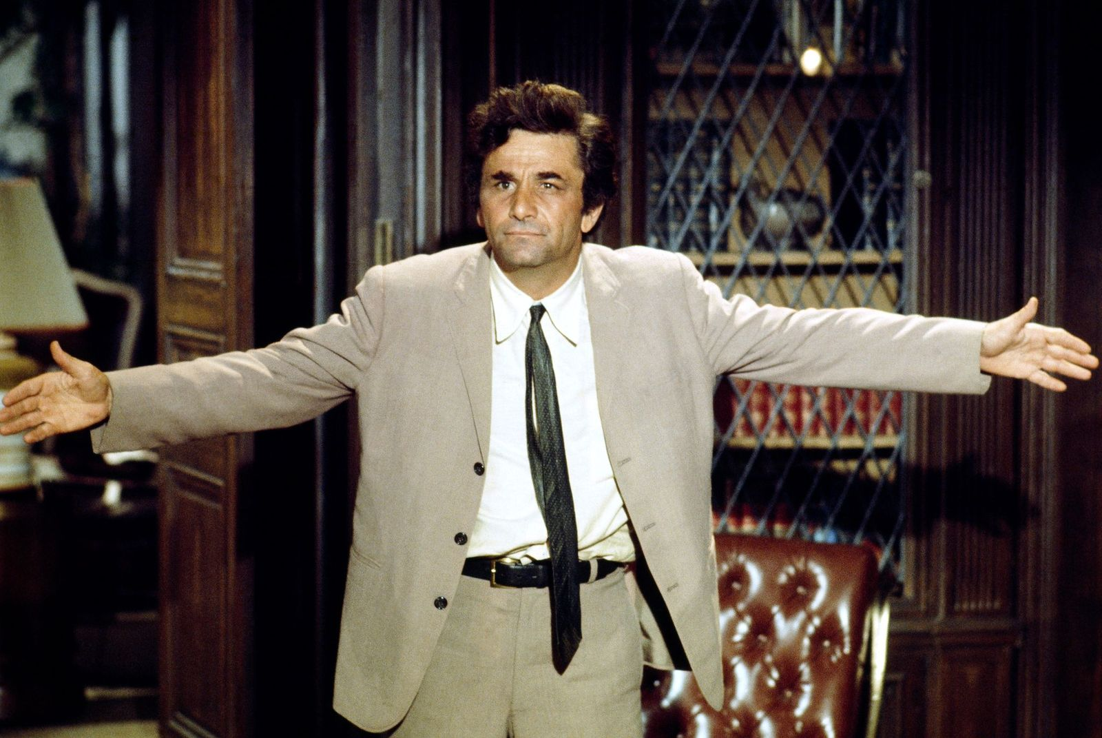 "Peter Falk during his scene in the TV series ""Columbo."" 