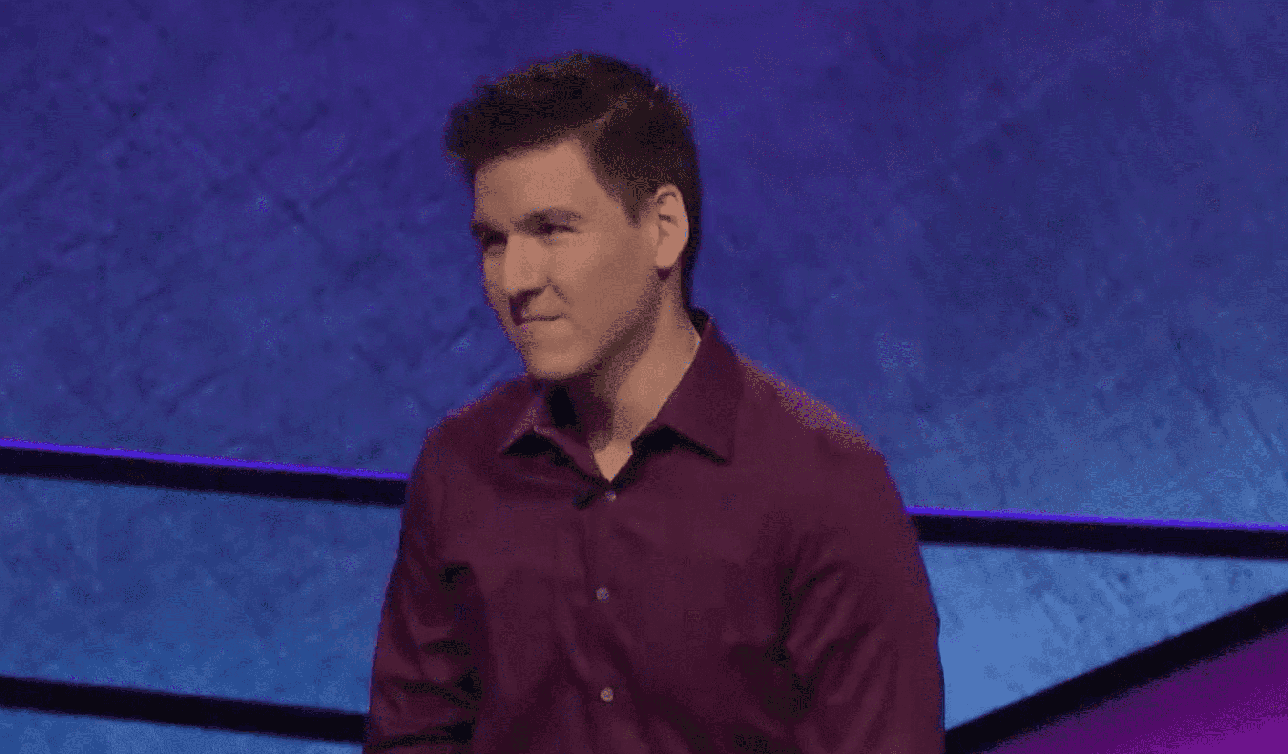 """James Holzhauer during the """"Jeopardy!"""" show.   Source: Twitter/Jeopardy!"""