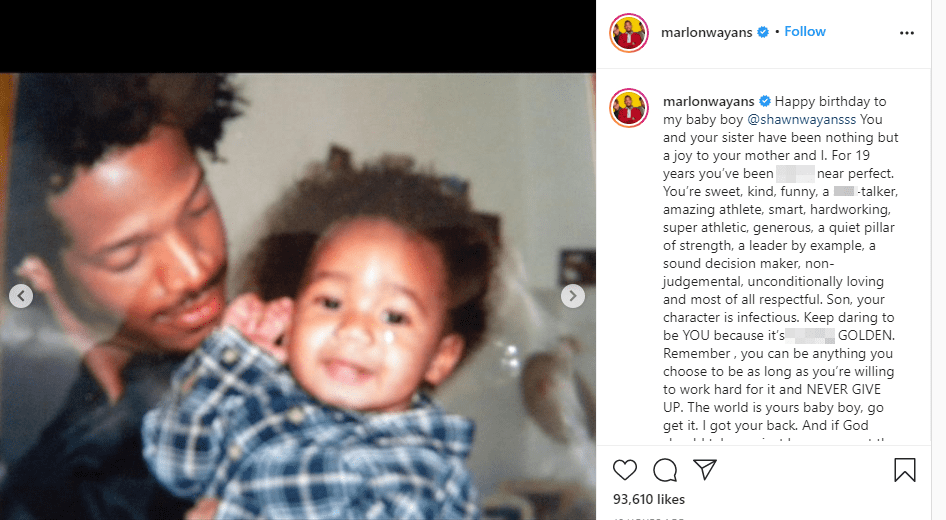 Screenshot of photo of Marlon Wayans and Shawn Howell Wayans. | Source: Instagram/marlonwayans