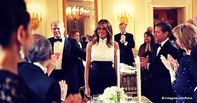 Melania Trump Dons Sleeveless White Cotton Shirt and Simple Black Trousers to the Governors Ball