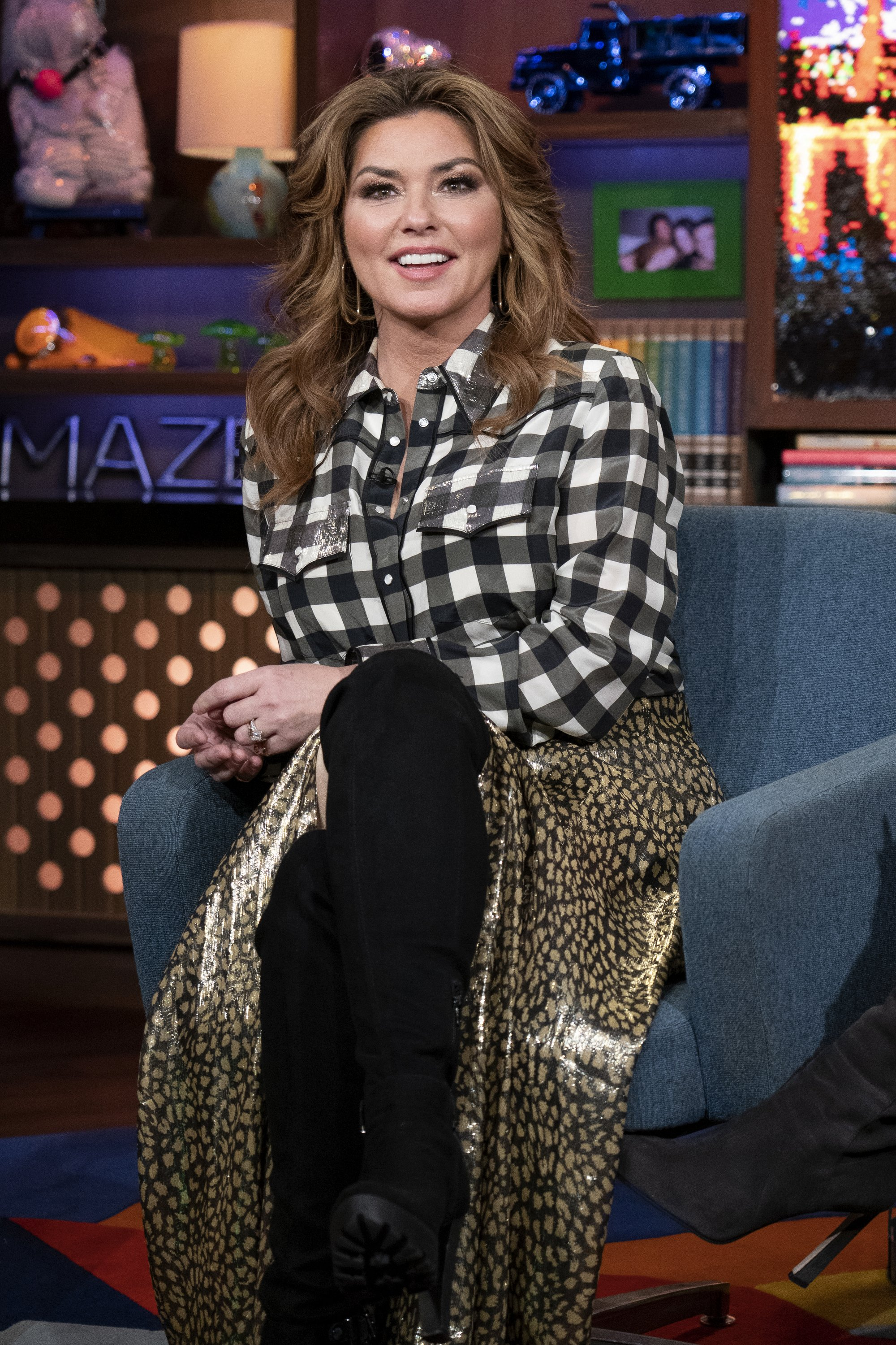 "Shania Twain appearing on Season 15 of ""Watch What Happens Live With Andy Cohen"" in 2018. 