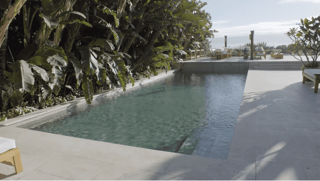 Pierce Brosnan and Keely Brosnan's Malibu mansion: saltwater pool   Photo: YouTube/Architectural Digest