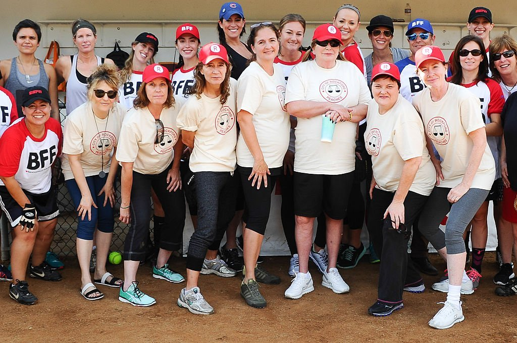 """Actors Bitty Schram, Patti Pelton, Anne Ramsay, Tracy Reiner, Penny Marshal, Megan Cavanagh and Ann Cusack attends """"A League Of Their Own"""" Reunion Softball Game hosted by espnW presented by The Bentonville Film Festival    Getty Images / Global Images Ukraine"""