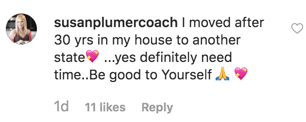 A fan comments on Amy Roloff's instagram post about her new home | Source: instagram.com/amyjroloff