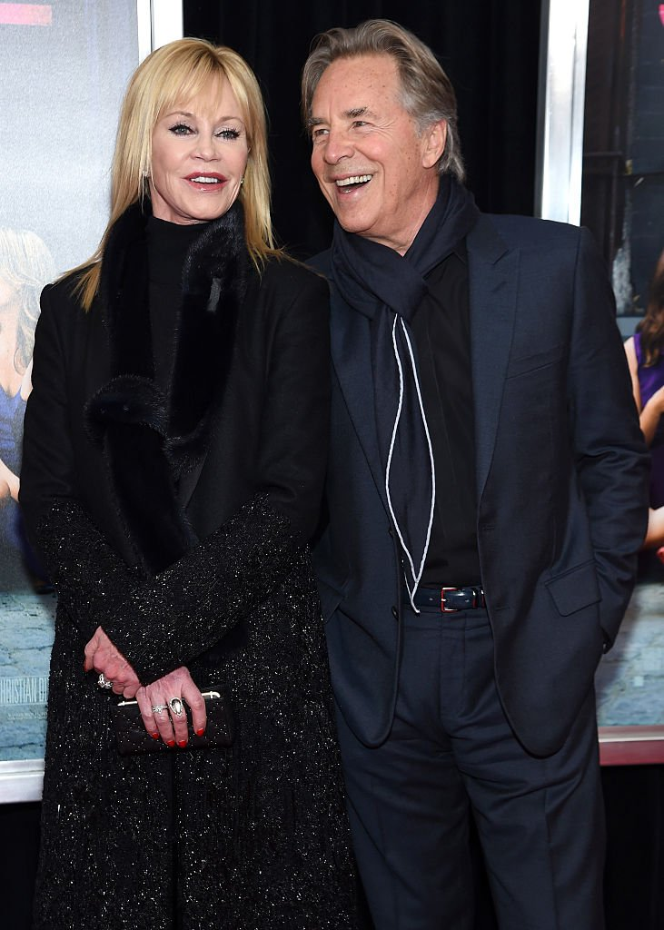 """Actors Melanie Griffith (L) and Don Johnson attend the New York premiere of """"How To Be Single"""" at the NYU Skirball Center on February 3, 2016 in New York City. 