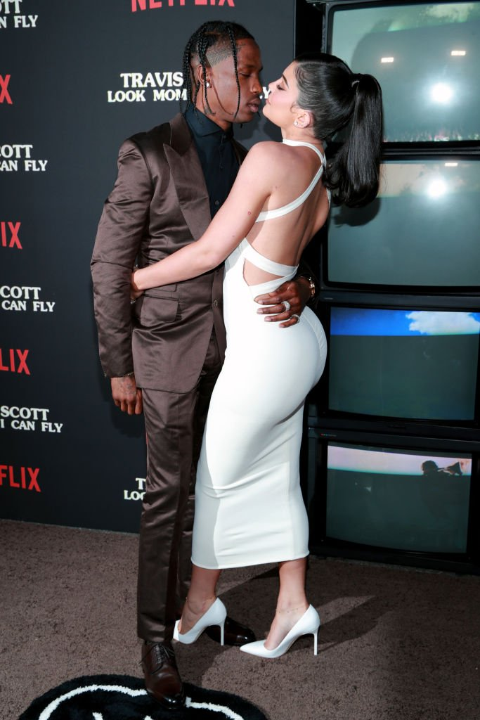 """Travis Scott and Kylie Jenner attend the premiere of Netflix's """"Travis Scott: Look Mom I Can Fly"""" at Barker Hangar on August 27, 2019. 