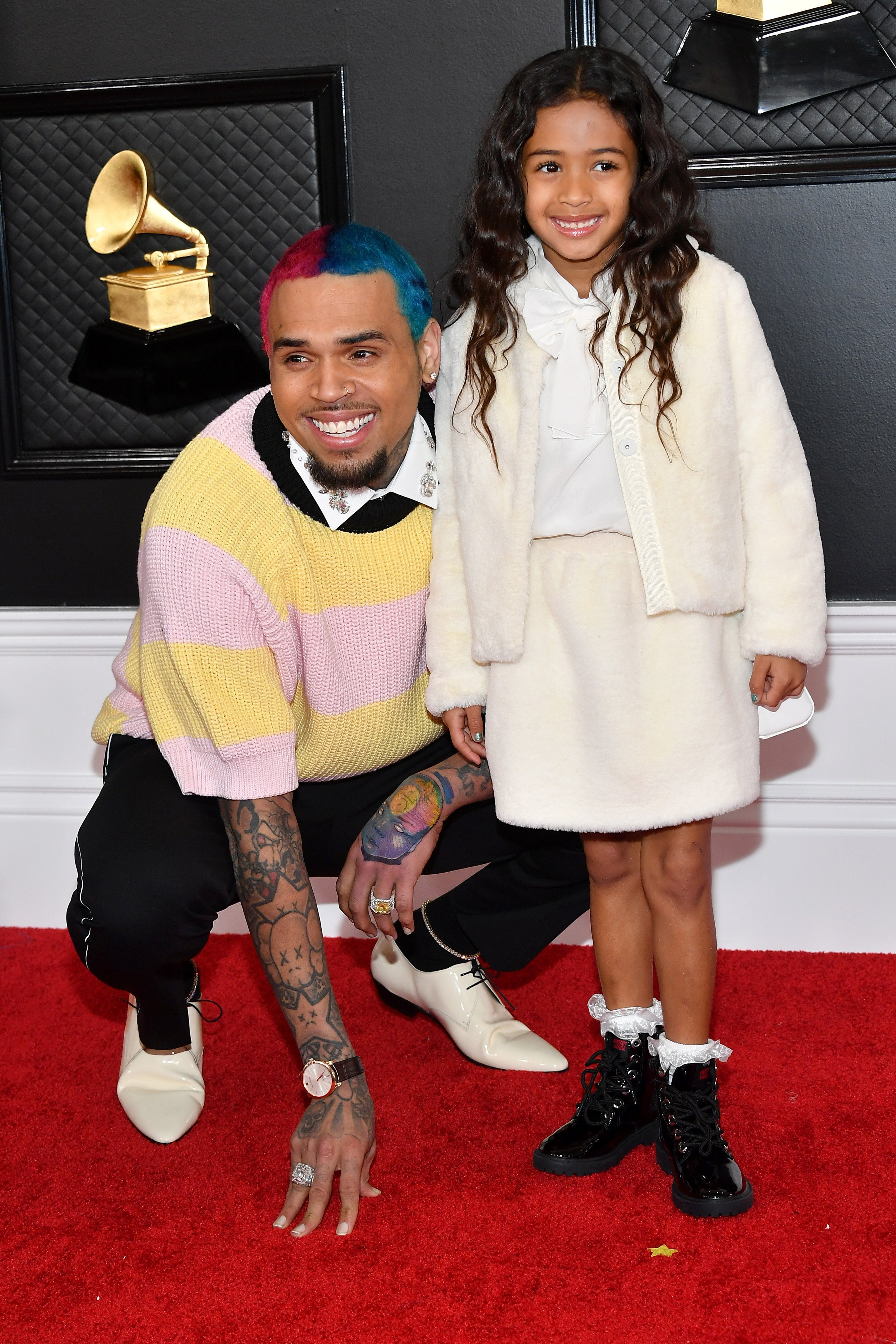 Chris Brown and his daughter, Royalty at the red carpet of the Grammy Awards in January 2020.   Photo: Getty Image