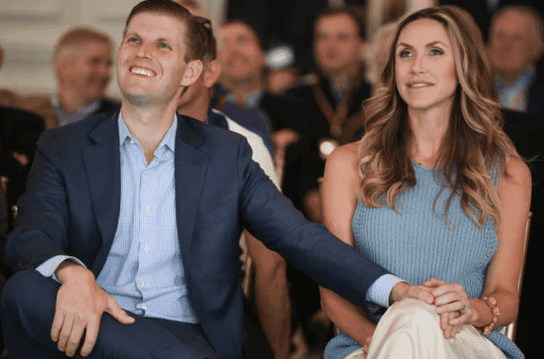 Eric Trump and his wife Lara watch the ceremony at the opening forTrump Turnberry's new golf course on June 28, 2017 in Turnberry, Scotland | Source: Mitchell/Getty Images