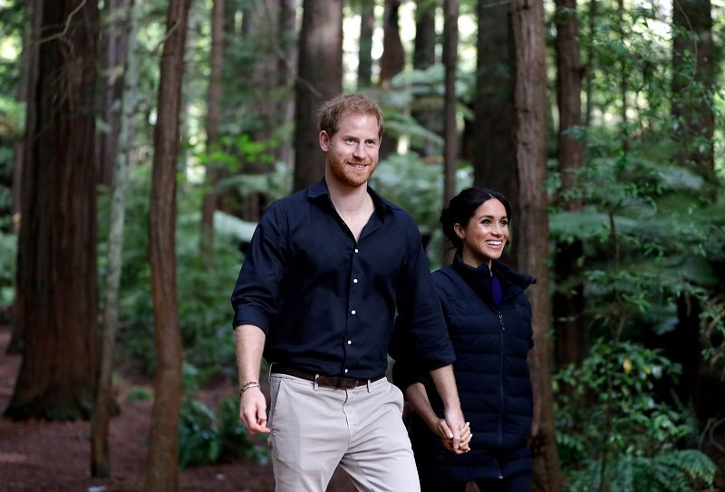 Prince Harry Meghan Markle visiting Redwoods Tree Walk in Rotorua, New Zealand, in October 2018.   Image: Getty Images.