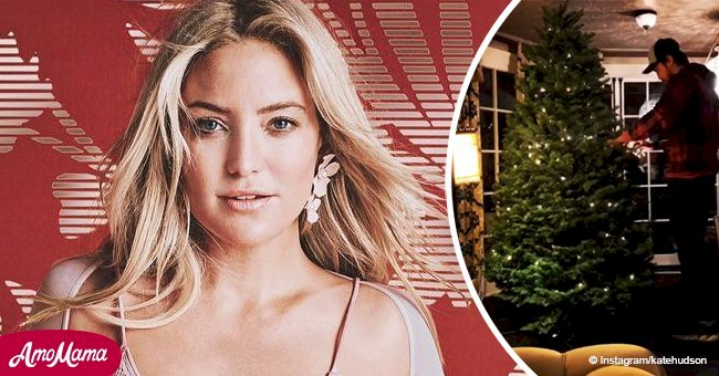 Kate Hudson shares a video of boyfriend decorating a Christmas tree to give you a Holiday spirit