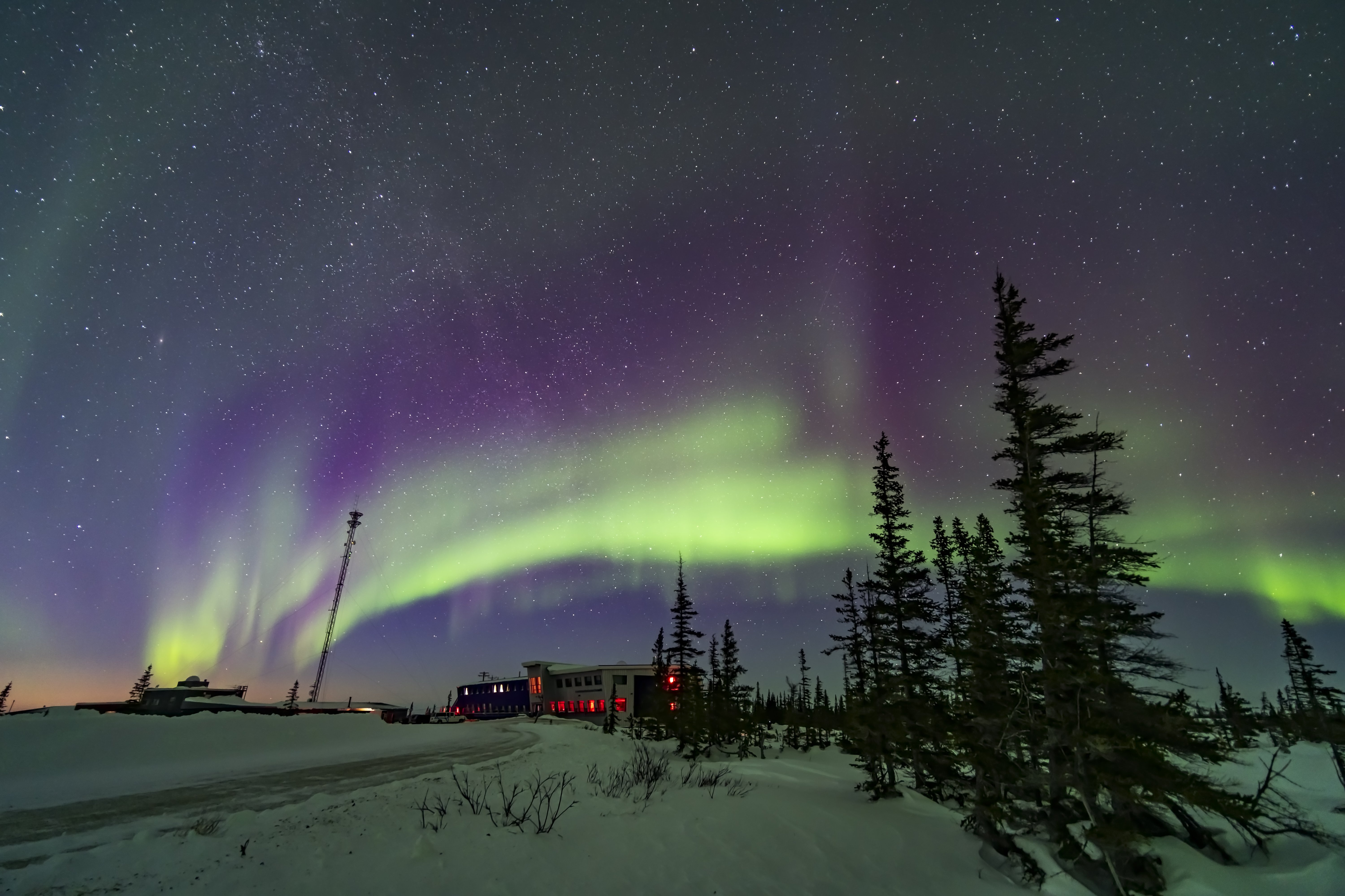 A pastel-coloured aurora over the Rocket Range Road and Northern Studies Center in Churchill, Manitoba, March, 18, 2020. A single shot with the Sony a7III and Venus Optics 15mm lens   Photo by: Getty Images