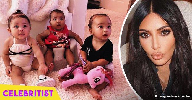 Kim Kardashian shares pic of 'triplets' Chicago, True & Stormi spending quality time together