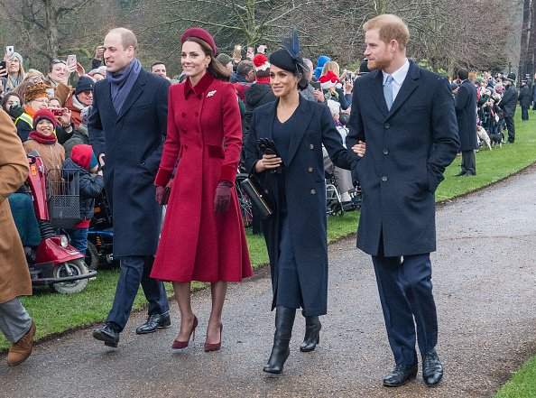 Prince William, Kate Middleton, Meghan Markle, and Prince Harry at Church of St Mary Magdalene on the Sandringham estate on December 25, 2018 in King's Lynn, England. | Photo: Getty Images