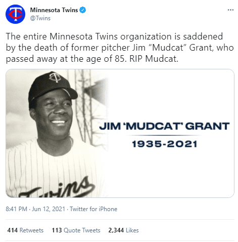 The Minnesota Twins posted a tribute for the late MLB player.   Photo: Twitter/Twins