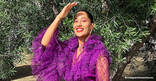 Tracee Ellis Ross turns all heads in sheer purple dress with lacy ruffles & matching booties in pic