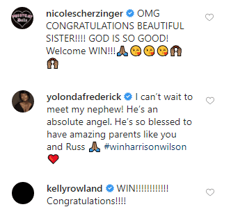 Nicole Scherzinger, Yolonda Frederick-Thompson and Kelly Rowland congratulating Ciara and Russel Wilson for welcoming their second son Will | Photo: Instagram/Ciara