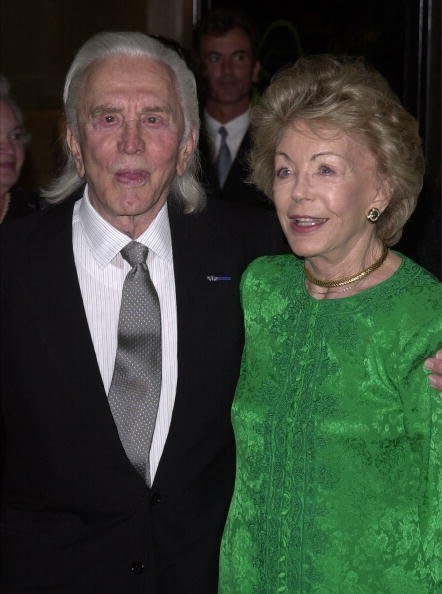 Actor Kirk Douglas and his wife Ann attend the Simon Wiesenthal Center''s National Tribute Dinner honoring actor Michael Douglas with the 2001 Humanitarian Award June 25, 2001 in Beverly Hills, CA.