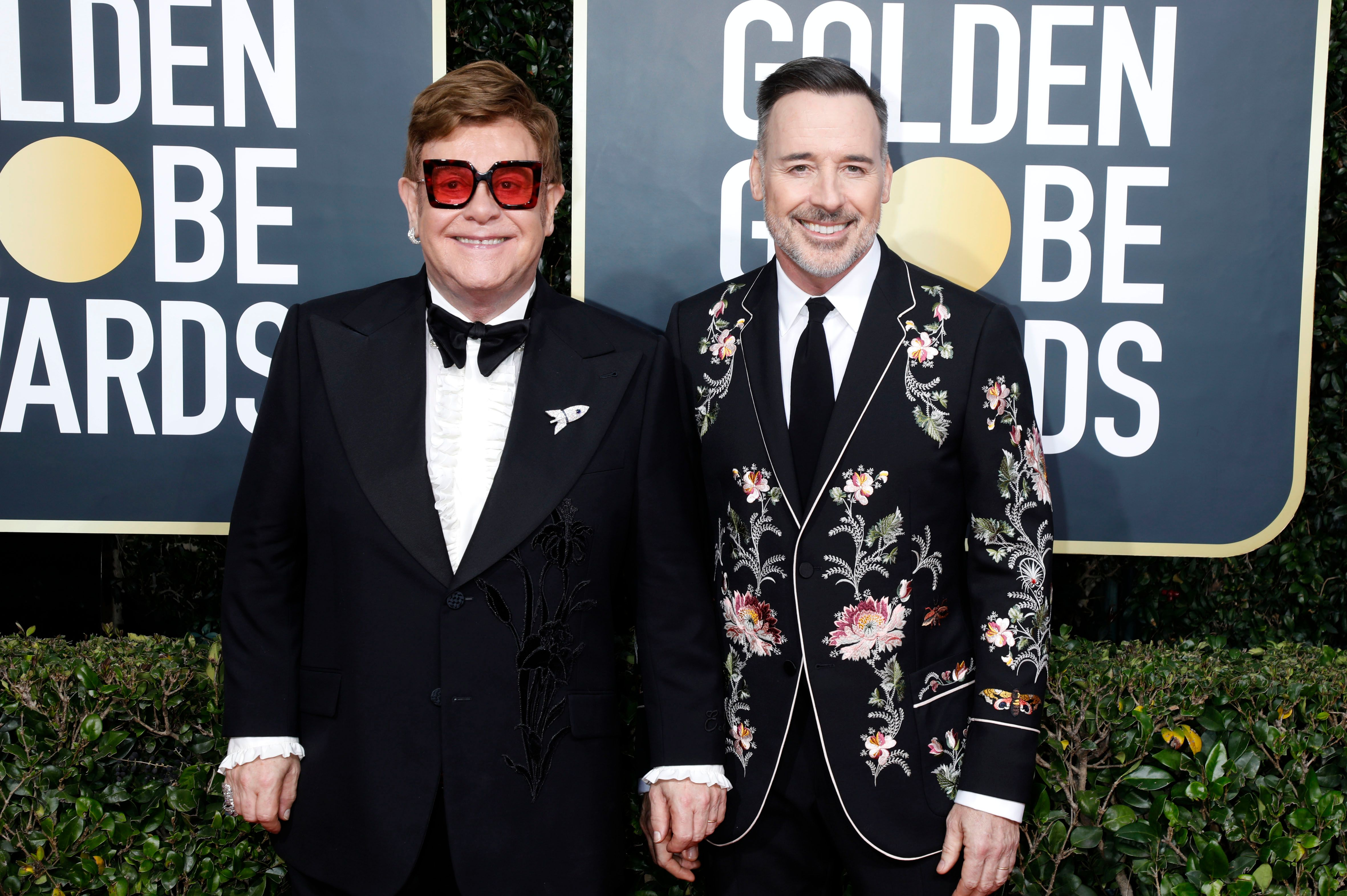 Elton John and David Furnish at the 77th Annual Golden Globe Awards on January 05, 2020, in Beverly Hills, California | Photo: P. Lehman/Barcroft Media/Getty Images