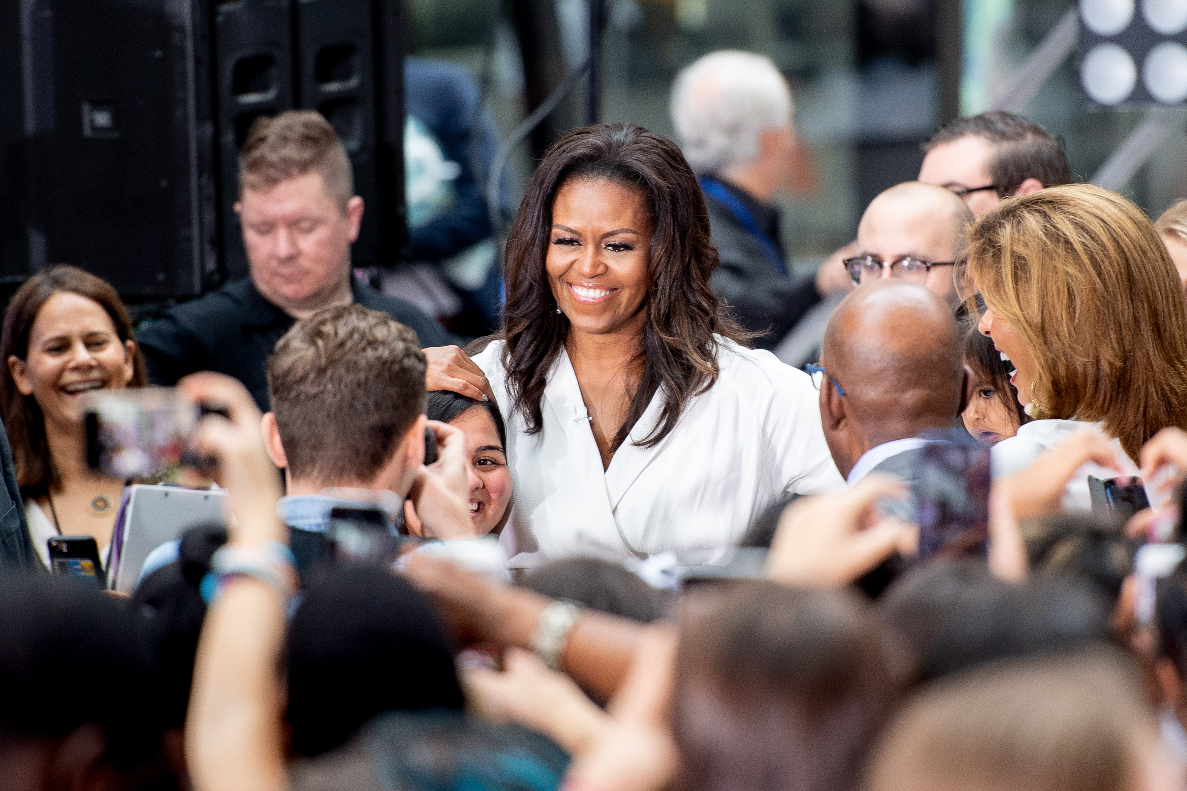 Michelle Obama attends NBC's 'Today' Celebrates The International Day Of The Girl at Rockefeller Plaza on October 11, 2018, in New York City.   Source: Getty Images.
