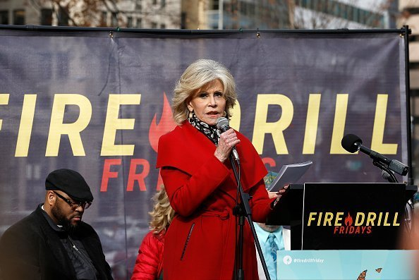 "Jane Fonda demonstrates during ""Fire Drill Friday"" climate change protest on December 6, 2019 