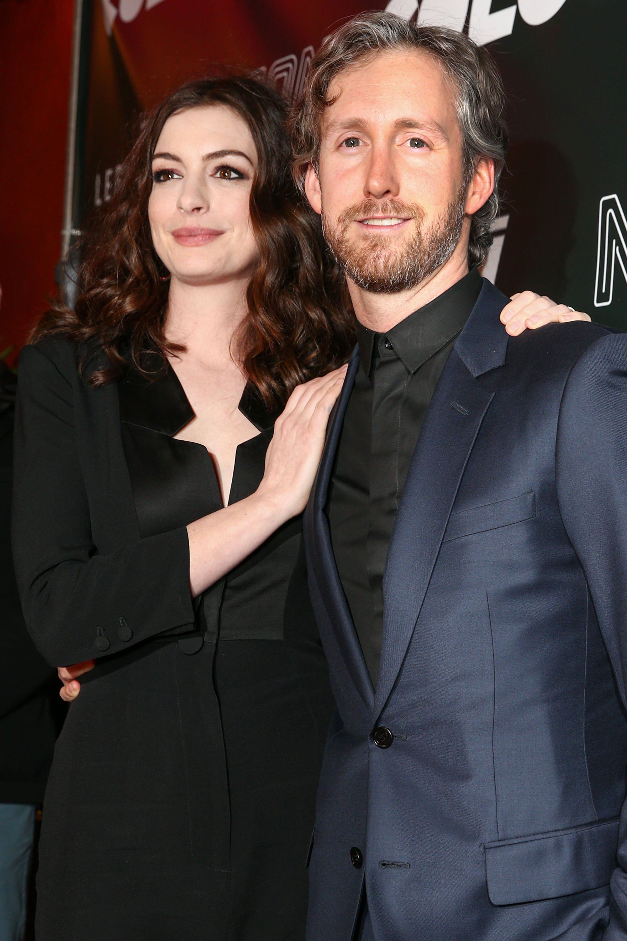 "Anne Hathaway and Adam Shulman arrive at the premiere of Neon's ""Colossal"" at the Vista Theatre 