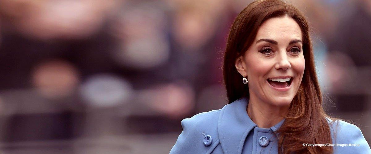 Kate Middleton flechtet Haare von Fan in einem wunderschönen blauen Kleid und Dianas Ohrringe