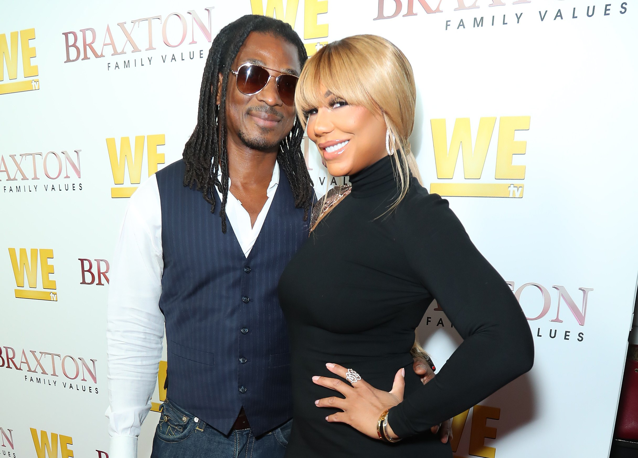 "David Adefeso and Tamar Braxton attend WE tv's ""Braxton Family Values"" Season 6 Premiere at The Doheny Room on April 02, 2019. 