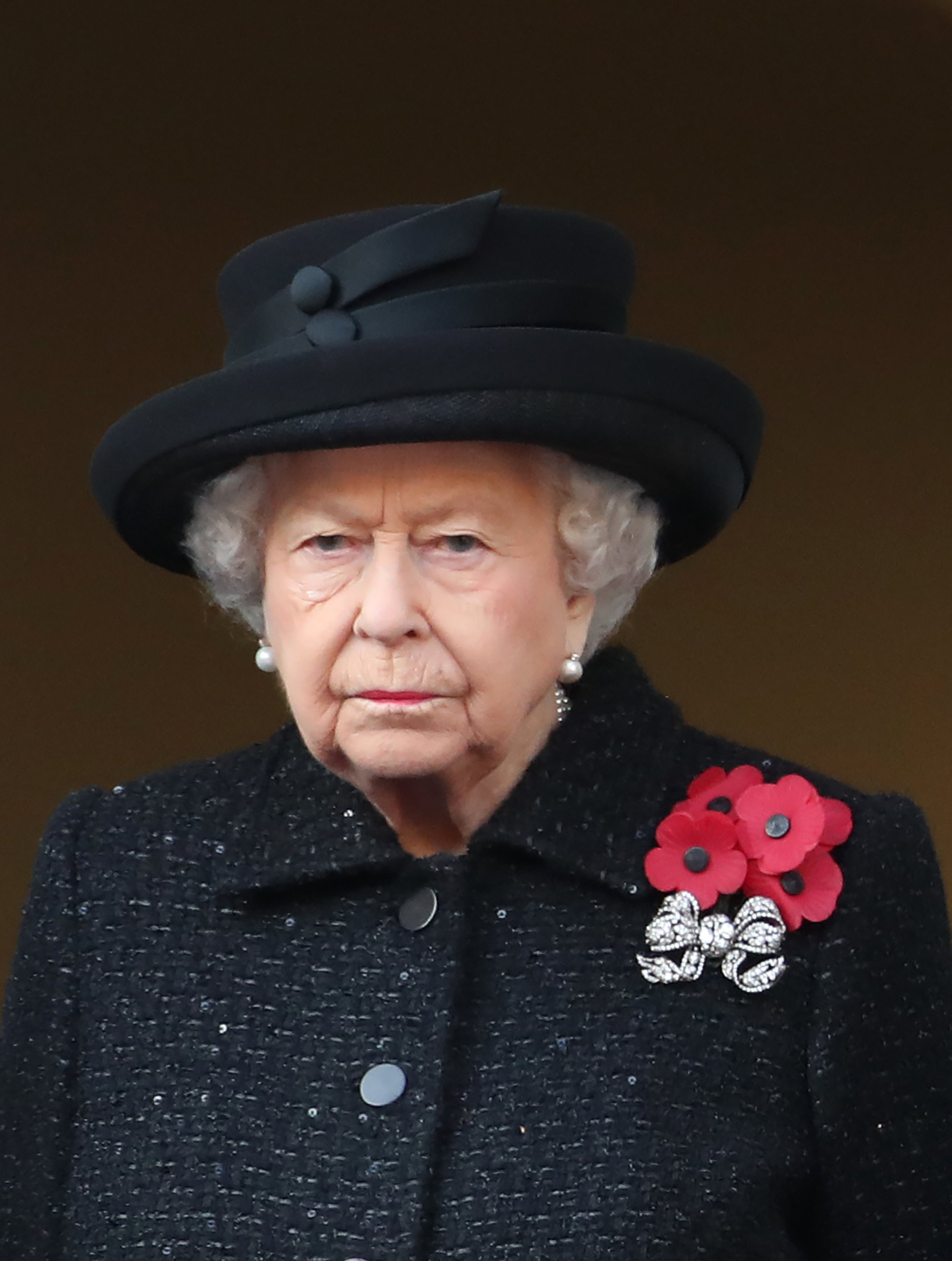 Queen Elizabeth II at the annual Remembrance Sunday memorial at The Cenotaph in London, England.