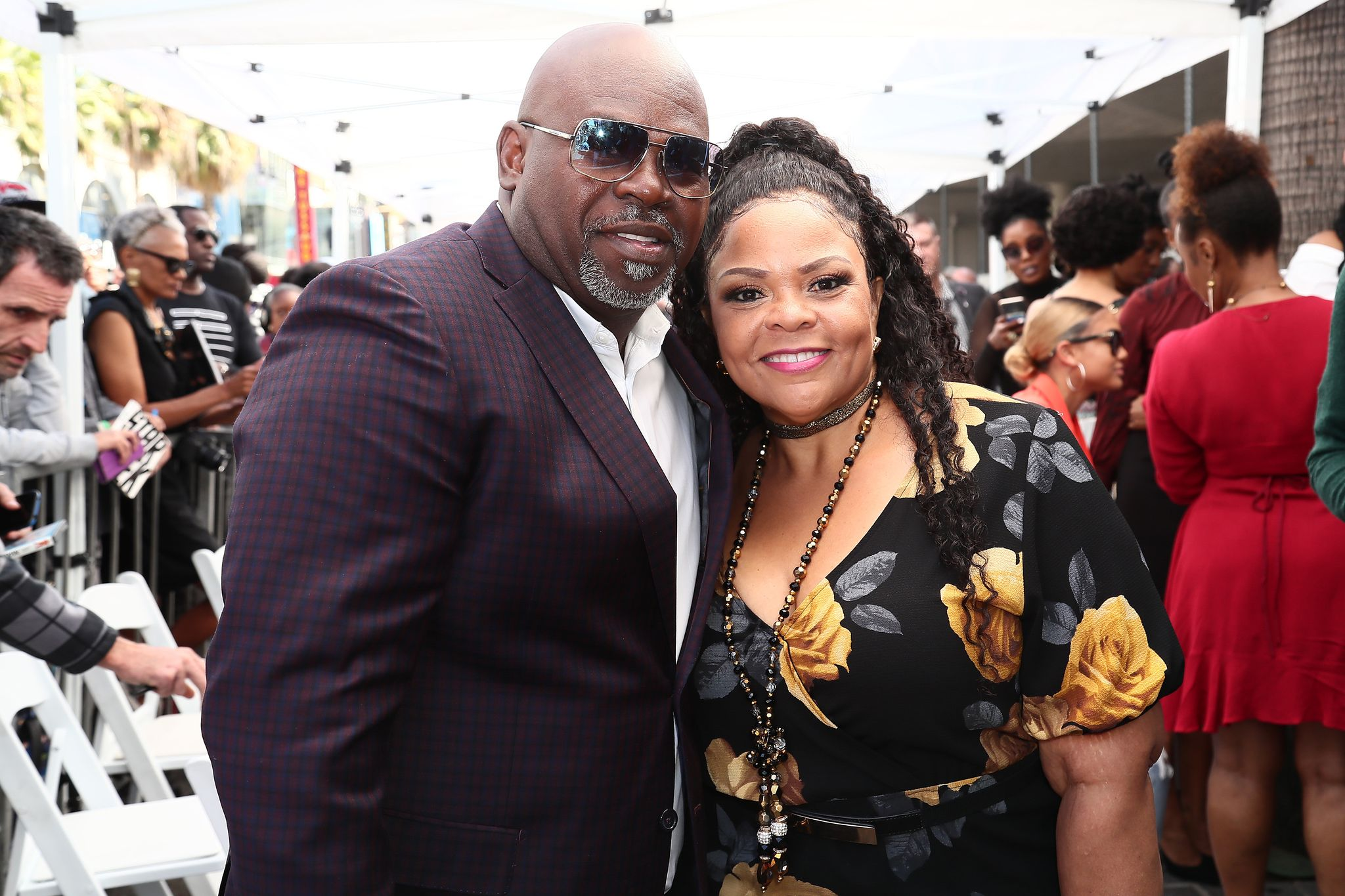 Tamela Mann and husband David Mann at the ceremony honoring Tyler Perry with a Star on the Hollywood Walk of Fame in 2019 in Hollywood, California | Source: Getty Images