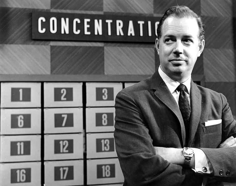 """Hugh Downs hosting the game show """"Concentration"""" in 1961  Source: Wikimedia Commons/ Public Domain"""