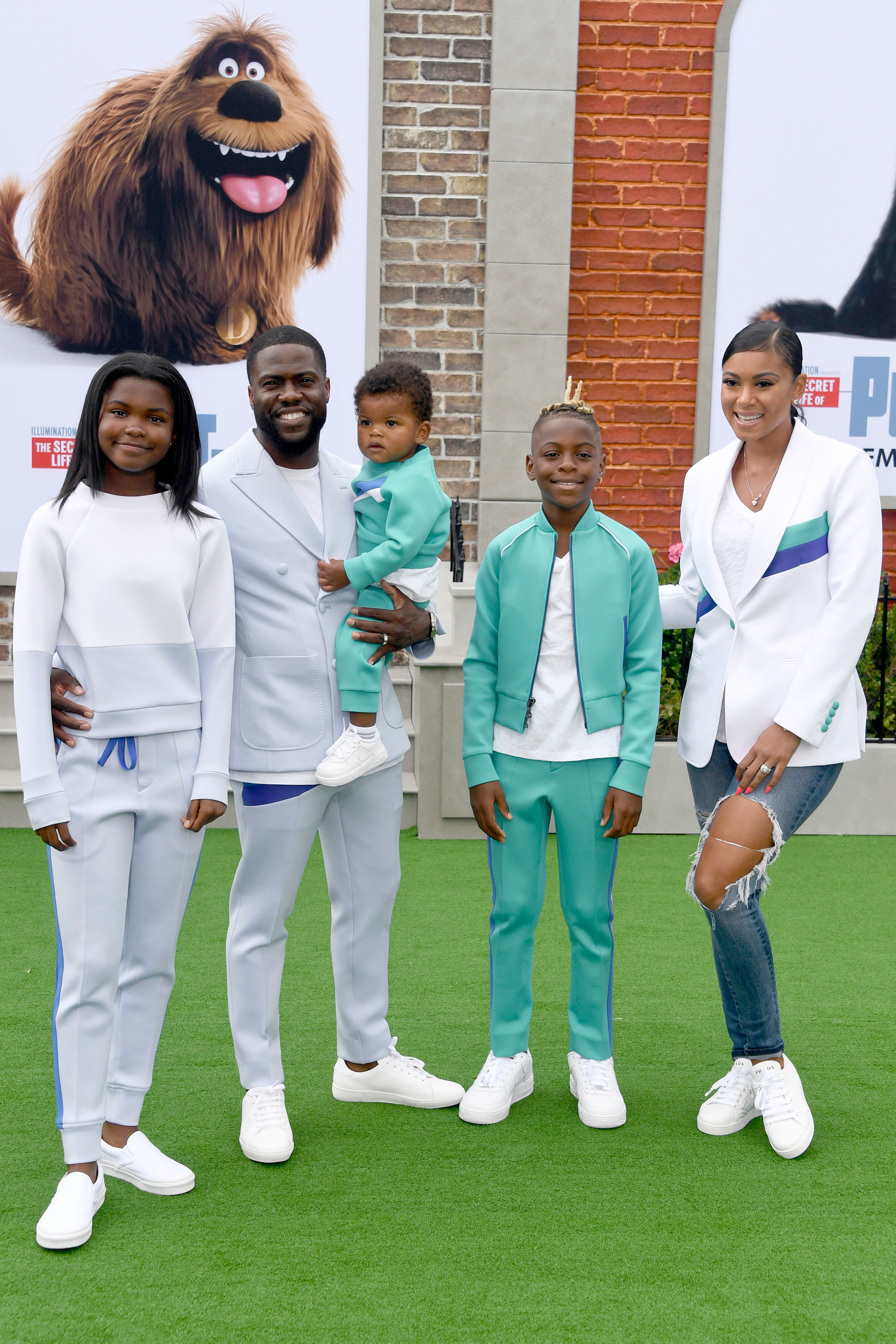 """Kevin Hart and his wife and kids at the premiere of """"The Secret Life of Pets 2""""   Source: Getty Images/GlobalImagesUkraine"""