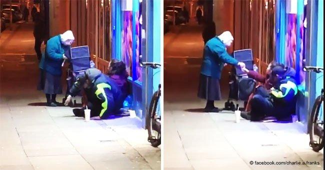 Conmovedor video muestra a una mujer de 72 años dando sopa a personas sin hogar con 3ºC
