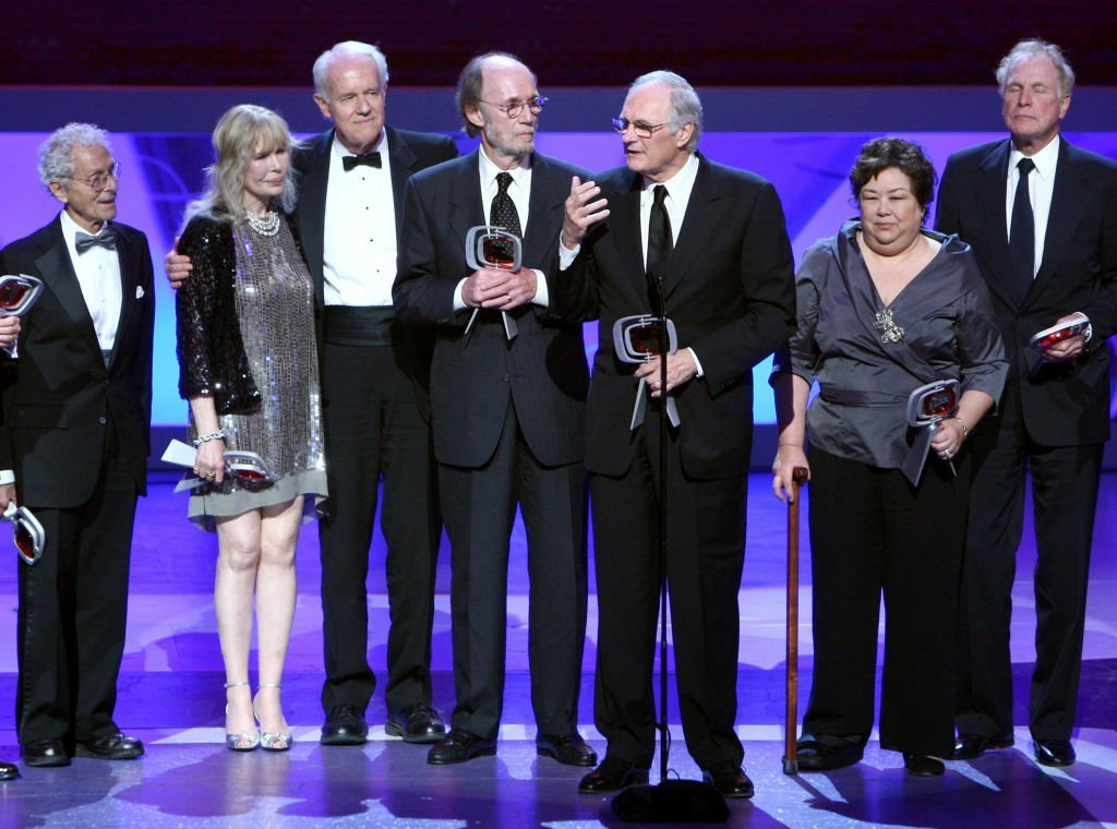 "Allan Arbus, Loretta Swit, Mike Farrell, Burt Metcalfe, Alan Alda, Kellye Nakahara Wallet, and Wayne Rogers accept the impact award for ""M*A*S*H"" onstage at the 7th Annual TV Land Awards held at Gibson Amphitheatre  