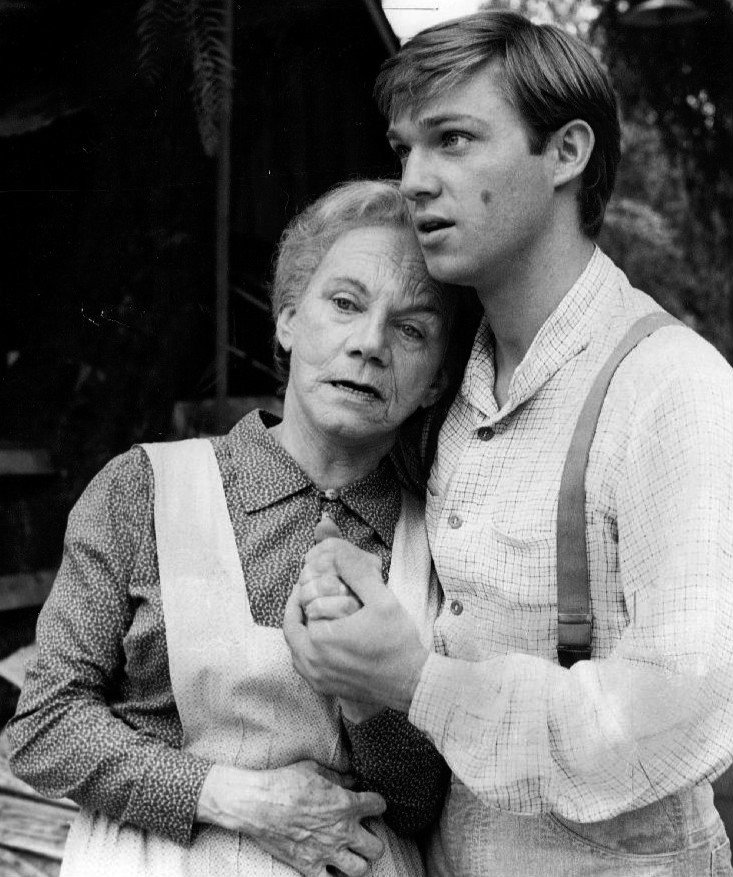 "Publicity photo of Richard Thomas and Ellen Corby from the television program ""The Waltons"".