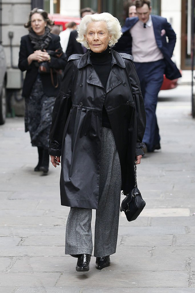 Honor Blackman attends the funeral of Christopher Cazenove at The Actors Church, Covent Garden | Getty Images