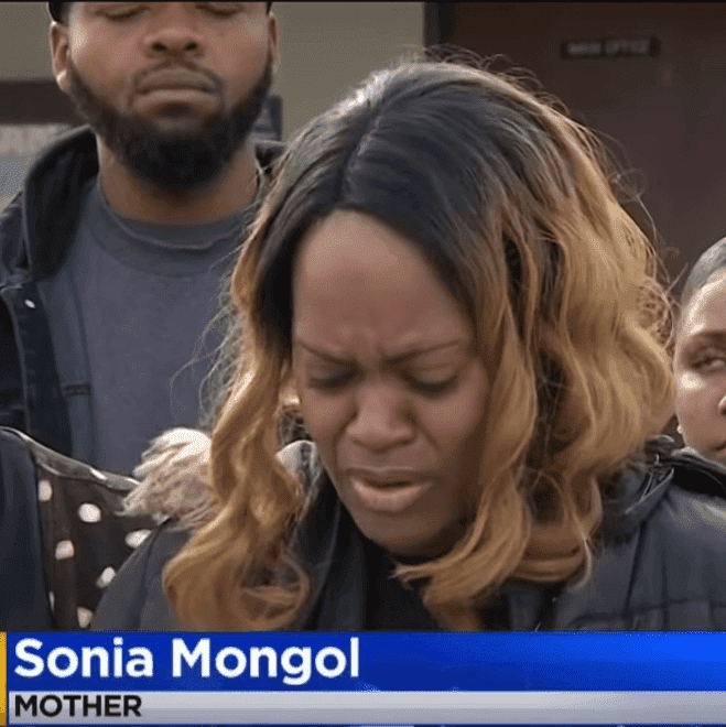 Screenshot of the distraught mom addressing reporters at a news conference.   Photo: YouTube/ CBS Los Angeles