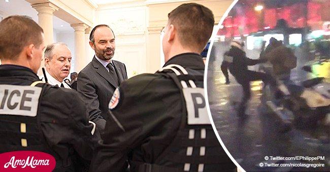 Édouard Philippe commente la situation après avoir rencontré les policiers touchés sur les Champs-Elysées