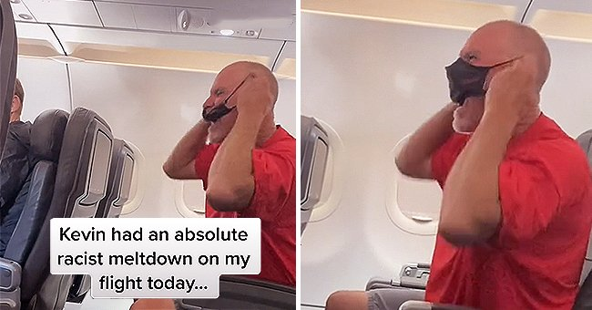 Man who was trying to deboard mid air. | Photo: TikTok/funnydenny