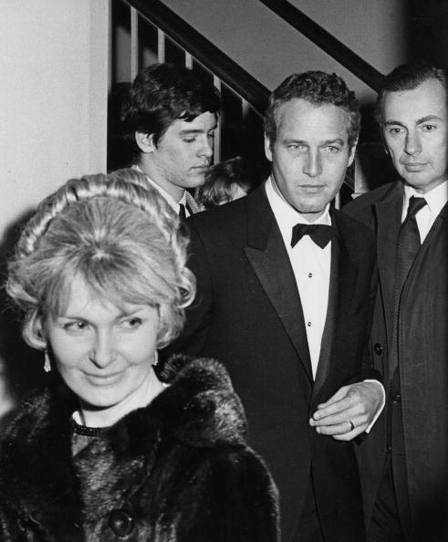 "Scott Newman, Paul Newman, Joanne Woodward and guests at Unicorn Theatre for the opening of ""Weekend."" 