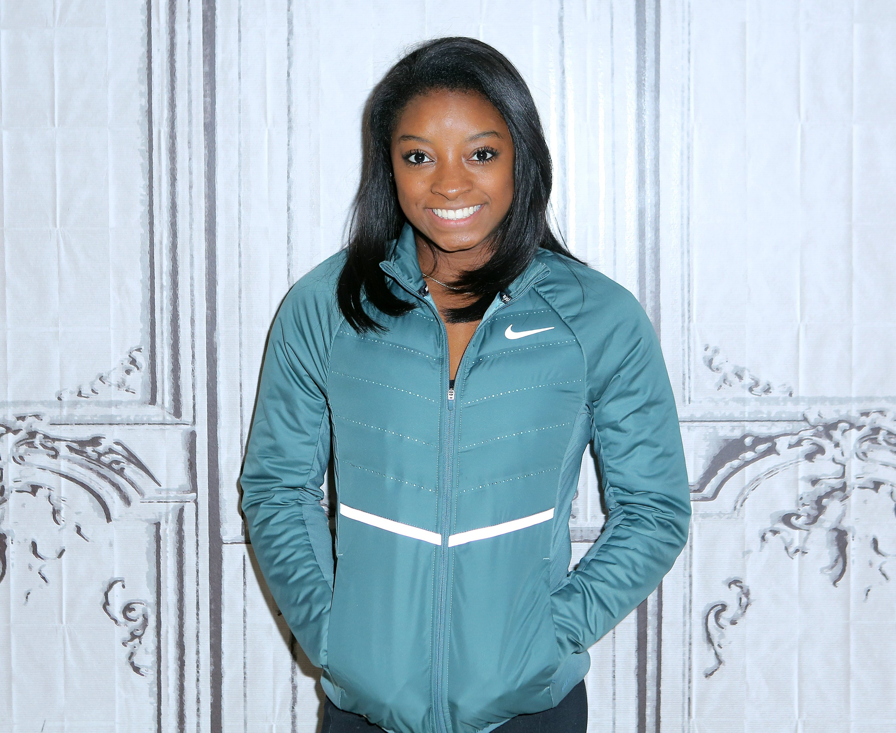 """Simone Biles promoting """"Courage To Soar"""" during the AOL BUILD Series at AOL HQ on November 16, 2016. 