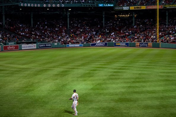 The baseball field at  at Fenway Park in Boston, Massachusetts.| Photo: Getty Images.