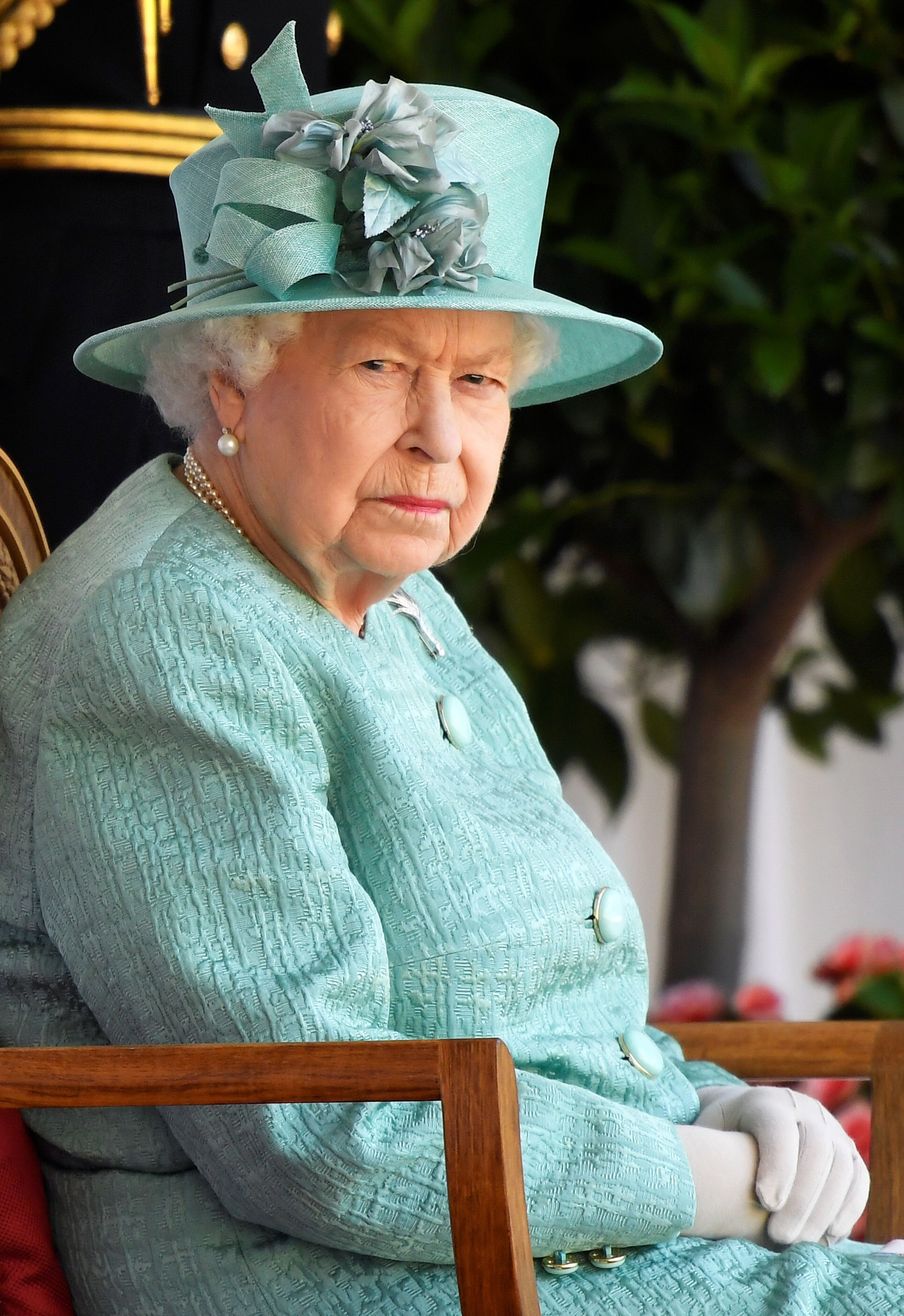 Queen Elizabeth II attends a ceremony to mark her official birthday at Windsor Castle on June 13, 2020   Getty Images