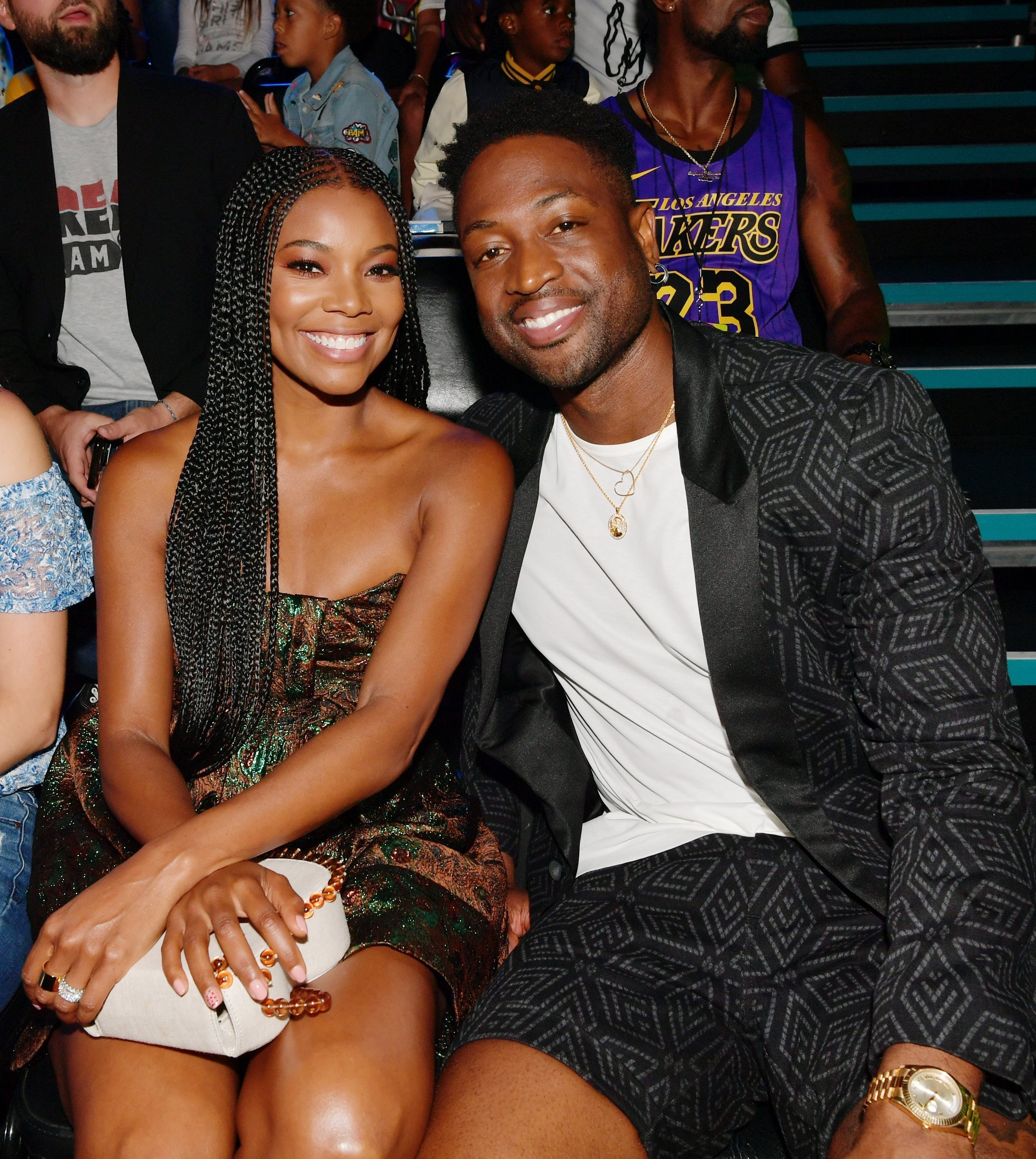 1: Gabrielle Union (L) and Dwyane Wade attend Nickelodeon Kids' Choice Sports 2019 at Barker Hangar on July 11, 2019 |Photo: Getty Images