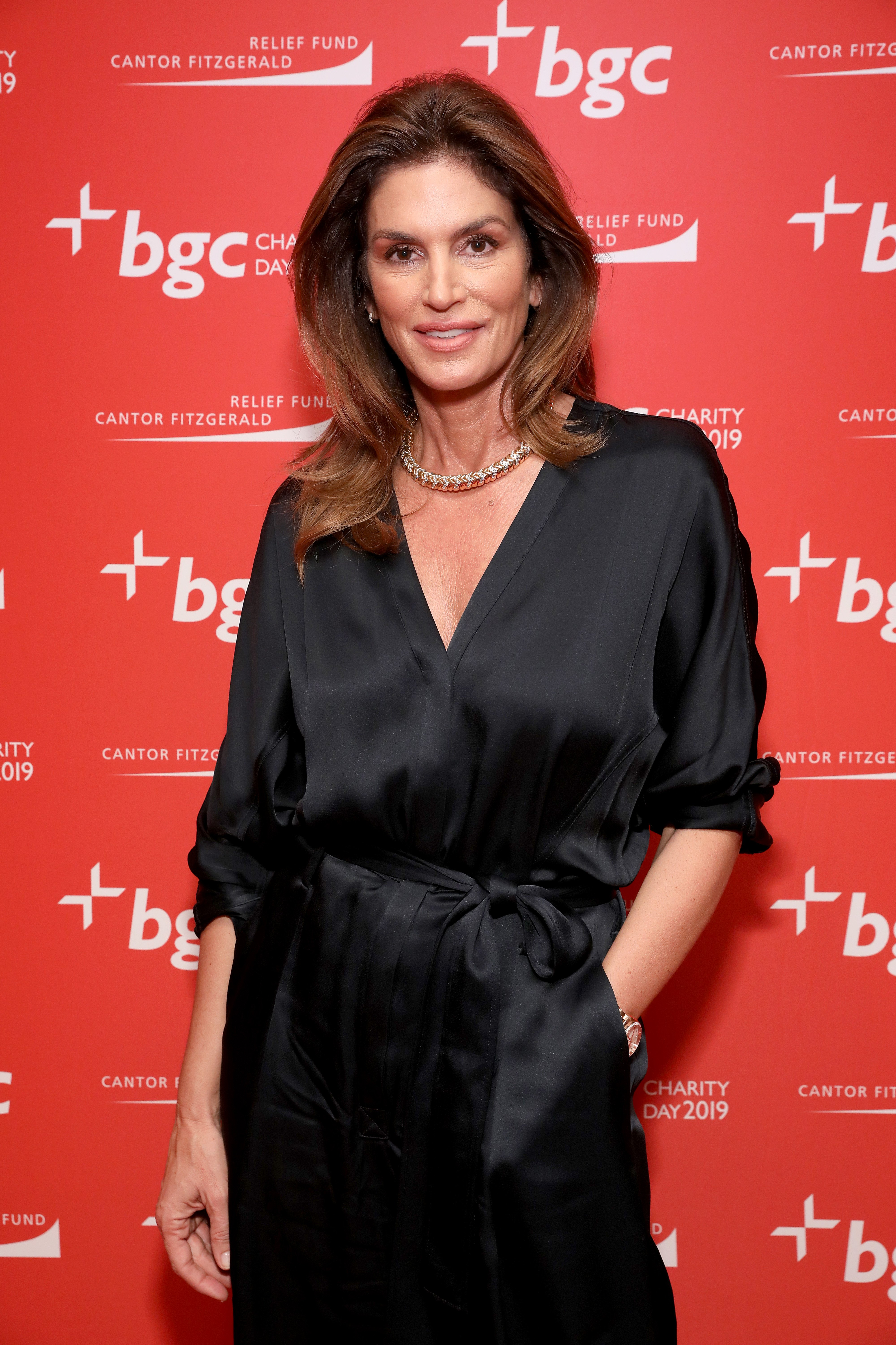 Cindy Crawford at the Annual Charity Day Hosted By Cantor Fitzgerald, BGC and GFI - BGC Office - Arrivals on September 11, 2019.   Photo: Getty Images