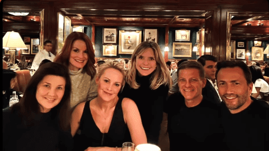 """Cast members of """"Melrose Place"""" enjoying dinner together. 
